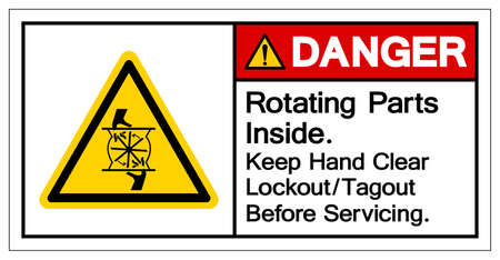 Danger Rotating Parts Inside Keep Hand Clear Lockout/Tagout Before Servicing Symbol Sign, Vector Illustration, Isolate On White Background Label .EPS10