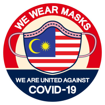 We Malaysia Wear masks we are united against Covid-19 Symbol Sign, Vector Illustration, Isolate On White Background Label.