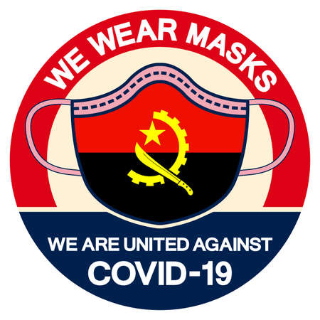 We Angola Wear masks we are united against Covid-19 Symbol Sign, Vector Illustration, Isolate On White Background Label.