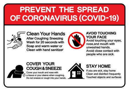 Prevent The Spread Of Coronavirus Covid-19 Symbol Sign ,Vector Illustration, Isolate On White Background Label.