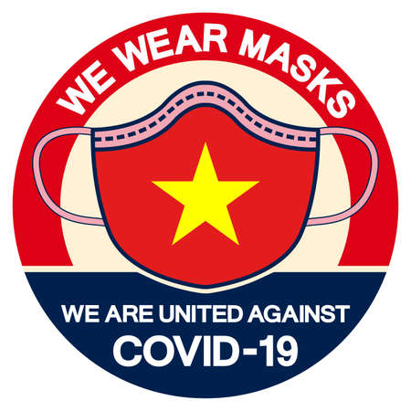 We Vietnam Wear masks we are united against Covid-19 Symbol Sign, Vector Illustration, Isolate On White Background Label. Illustration