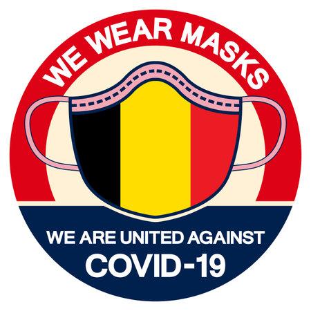 We Belgium Wear masks we are united against Covid-19 Symbol Sign, Vector Illustration, Isolate On White Background Label.