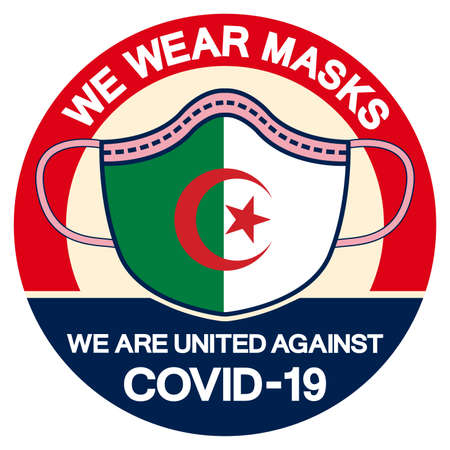 We Algeria Wear masks we are united against Covid-19 Symbol Sign, Vector Illustration, Isolate On White Background Label.