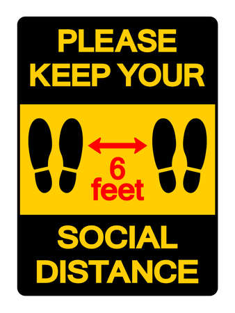 Please Keep Your Social Distance 6feet Symbol, Vector  Illustration, Isolated On White Background Label. Illustration