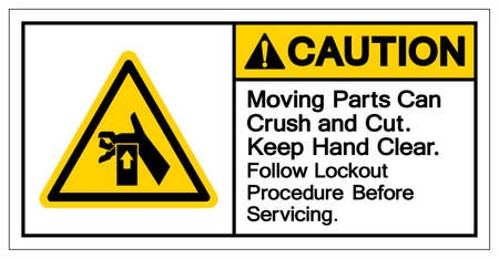Caution Moving Part Can Crush and Cut Keep Hand Clear Follow Lockout Procedure Before Servicing Symbol Sign, Vector Illustration, Isolate On White Background Label .EPS10