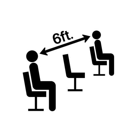 Please Maintain Social Distancing While Seated Black Icon, Vector Illustration, Isolate On White Background Label.
