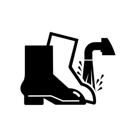 Foot Wash Must Be Used Point Black Icon, Vector Illustration, Isolate On White Background Label. EPS10