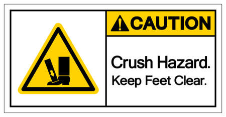Caution Crush Hazard Keep Feet Clear Symbol Sign, Vector Illustration, Isolate On White Background Label .EPS10 Illusztráció