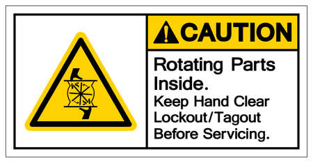 Caution Rotating Parts Inside Keep Hand Clear Lockout Tagout Before Servicing Symbol Sign, Vector Illustration, Isolate On White Background Label .EPS10
