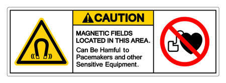 Caution Magnetic Fields Located In This Area Can Be Harmful To Pacemakers and other Sensitive Equipment Symbol Sign, Vector Illustration, Isolate On White Background Label .