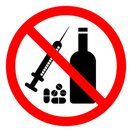 No Drugs Or Alcohol Symbol Sign, Vector Illustration, Isolate On White Background Label .EPS10 Illusztráció