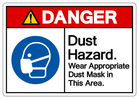 Danger Dust Hazard Wear Appropriate Dust Mask in This Area Symbol Sign,Vector Illustration, Isolated On White Background Label. EPS10 Illusztráció