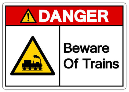 Danger Beware Of Trains Symbol Sign, Vector Illustration, Isolate On White Background, Label. EPS10 Illusztráció