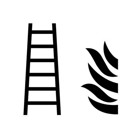 Fire Ladder Black Icon, Vector Illustration, Isolate On White Background Label. EPS10