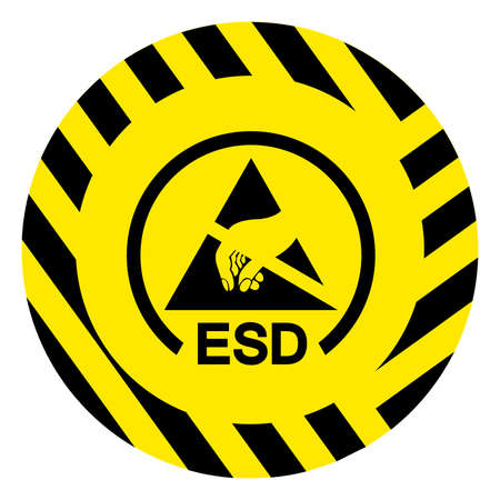 ESD Protective Area Symbol Sign, Vector Illustration, Isolated On White Background Label .