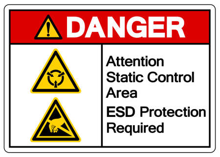 Danger Attention Static Control Area ESD Protection Required Symbol Sign, Vector Illustration, Isolated On White Background Label .EPS10