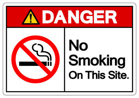 Danger No Smoking On This Site Symbol Sign, Vector Illustration, Isolated On White Background Label. EPS10 일러스트