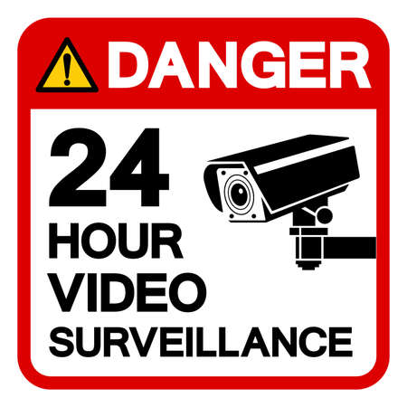 Danger 24 Hour Video Surveillance Symbol Sign, Vector Illustration, Isolate On White Background Label. EPS10