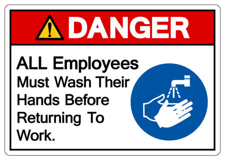 Danger ALL Employees Must Wash Their Hands Before Returning To Work Symbol Sign,Vector Illustration, Isolated On White Background Label. EPS10