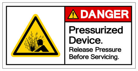 Danger Pressurized Device Release Pressure Before Servicing Symbol Sign, Vector Illustration, Isolate On White Background Label .