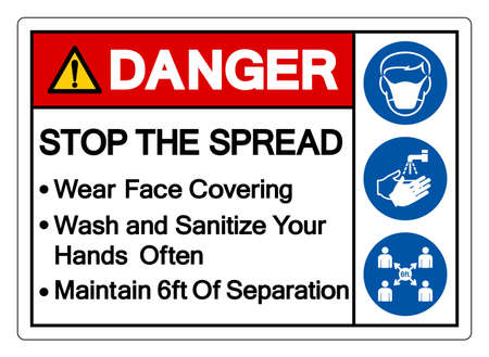 Danger Wear Face Covering Wash and Sanitize Your Hands Often Maintain 6ft Of Separation Symbol Sign, Vector Illustration, Isolate On White Background Label.