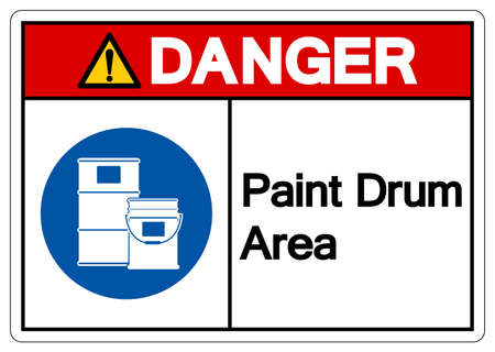 Danger Paint Drum Area Symbol Sign,Vector Illustration, Isolated On White Background Label. EPS10