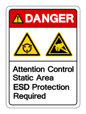 Danger Attention Static Control Area ESD Protection Required Symbol Sign, Vector Illustration, Isolated On White Background Label . 일러스트