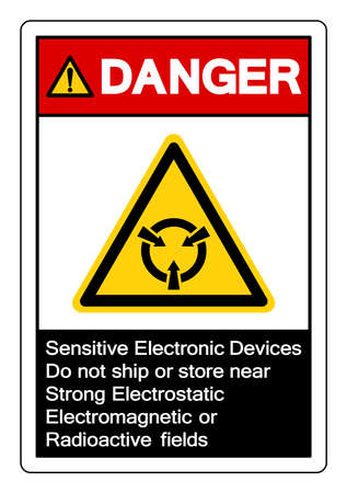Danger Sensitive Electronic Devices Do not ship or store near Strong Electrostatic Electromagnetic or Radioactive fields Symbol Sign, Vector Illustration, Isolated On White Background Label .EPS10