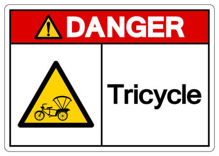 Danger Tricycle Symbol Sign,Vector Illustration, Isolate On White Background Label. EPS10