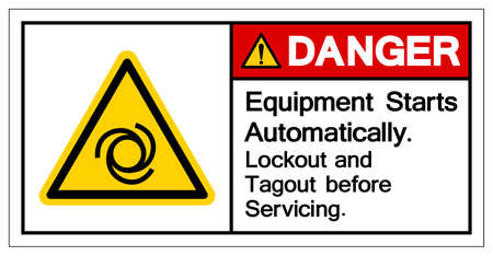 Danger Equipment Starts Automatically Lockout and Tagout before Servicing Symbol ,Vector Illustration, Isolate On White Background Label. 일러스트