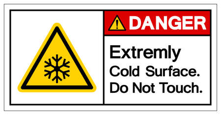 Danger Extremely Cold Surface Do Not touch Symbol, Vector Illustration, Isolated On White Background Label. EPS10