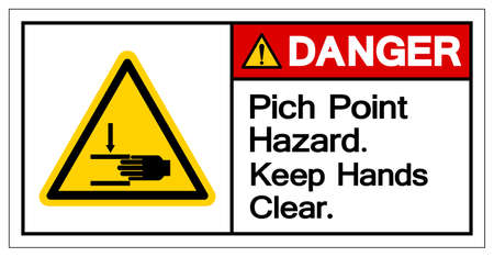 Danger Pich Point Hazard Keep Hands Clear Symbol Sign, Vector Illustration, Isolate On White Background Label .