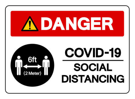 Danger Covid-19 Social Distancing 6ft Symbol, Vector  Illustration, Isolated On White Background Label.