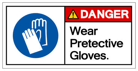 Danger Wear Pretective Gloves Symbol Sign, Vector Illustration, Isolate On White Background Label .EPS10