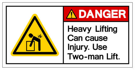 Danger Heavy Lifting can cause injury Use Two Man Lift Symbol Sign, Vector Illustration, Isolate On White Background Label .