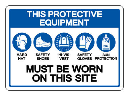 This Protective Equipment Must Be Worn On This Site Symbol Sign ,Vector Illustration, Isolate On White Background Label.