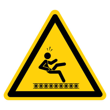 Exposed Conveyors & Moving Parts Can Cause Severe Injury Symbol Sign,Vector Illustration, Isolate On White Background Label. EPS10 일러스트