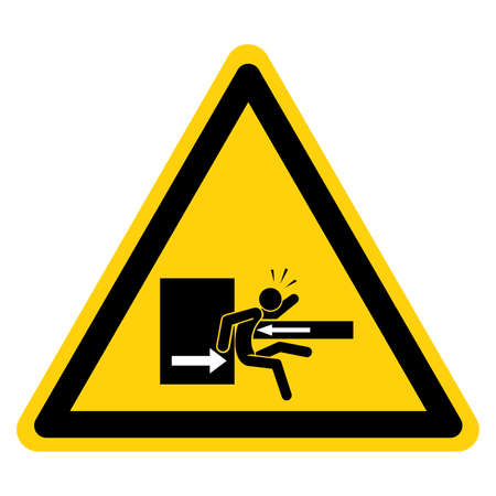 Danger Keep Clear Of Swinging Upper To Prevent Serious Bodily Injury Symbol Sign ,Vector Illustration, Isolate On White Background Label. EPS10 일러스트