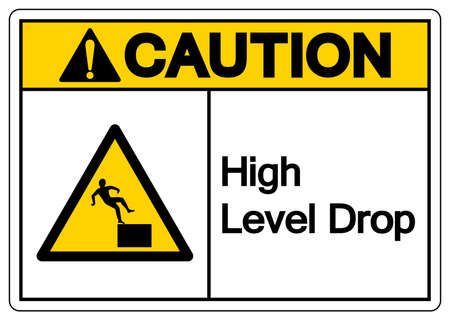 Caution High Level Drop Symbol Sign,Vector Illustration, Isolate On White Background Label. EPS10