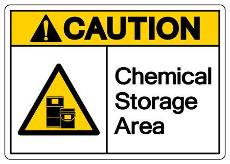 Caution Chemical Storage Area Symbol, Vector Illustration, Isolate On White Background Label. EPS10