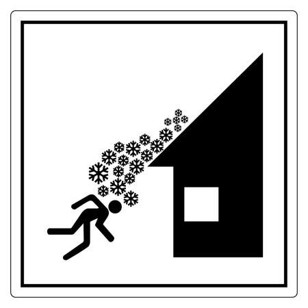 Warning Roof Avalanche Can Occur Symbol, Vector Illustration, Isolate On White Background Label. EPS10