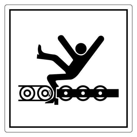 Warning Exposed Conveyor And Moving Parts Will Cause Service Injury Or Death Symbol, Vector Illustration, Isolate On White Background Label. EPS10 向量圖像