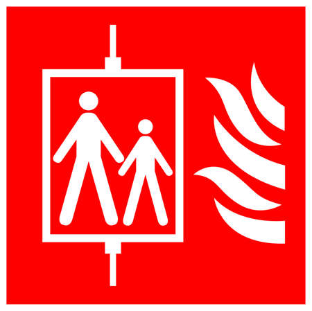 In Case Of Fire Do Not Use Lift Symbol Sign, Vector Illustration, Isolate On White Background Label .EPS10