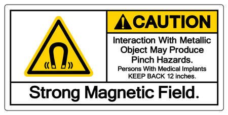 Caution Interaction With Metallic Object May Produce Pinch HazardsStrong Magnetic Field Symbol Sign, Vector Illustration, Isolate On White Background Label .EPS10