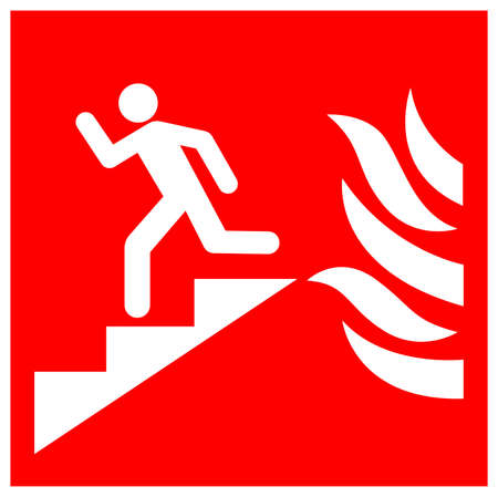 In Event Of Fire Use Stair Symbol Sign, Vector Illustration, Isolate On White Background Label. EPS10
