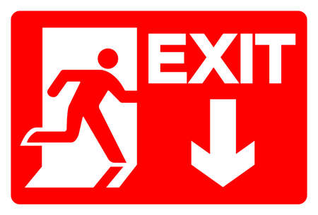 Exit Symbol Sign, Vector Illustration, Isolate On White Background Label.