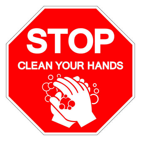 Stop Clean Your Hands Symbol Sign, Vector Illustration, Isolated On White Background Label.