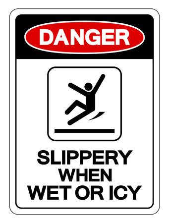Danger Slippery When Wet Or Icy Symbol Sign, Vector Illustration, Isolated On White Background Label .EPS10 Ilustração