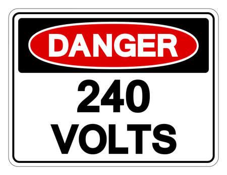 Danger 240 Volts Symbol Sign Ilustração