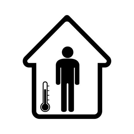 Isolation Area For Temperature Rechecking Black Icon, Vector Illustration, Isolate On White Background Label
